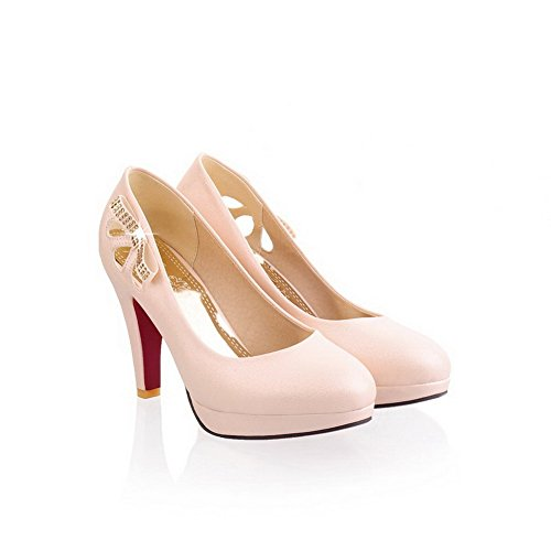Maymeenth Girls Closed Toe Pointed Toe High Heel PU Soft Material Solid Pumps, Beige, 8.5 B(M) US