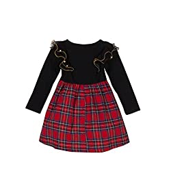 TheTickleToe Kids Baby Girl Red Black Birthday Dress Party Check Plaids Cotton Frills 12-24 Months