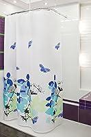 textile rideau de douche NATURA 240x200 bagues inclue blanche violet bleu noir 240 x 200!