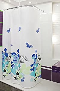 textile rideau de douche NATURA 180x180 bagues inclue blanche violet bleu noir!