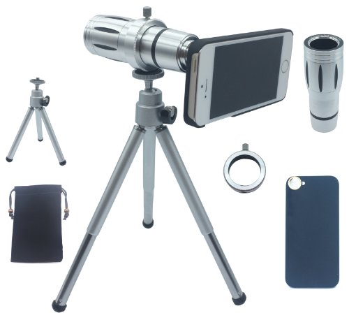 Lesung®12X Magnifier Zoom Aluminum Manual Focus Telephoto Telesocpe Phone Camera Lens Kit With Tripod For Iphone5/5S(A)