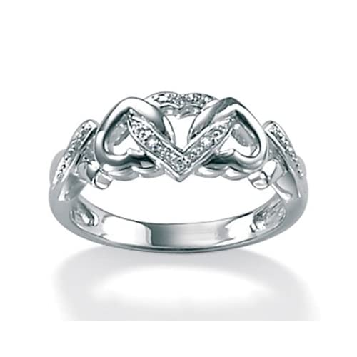 Diamond Accent Platinum Over Sterling Silver Ring