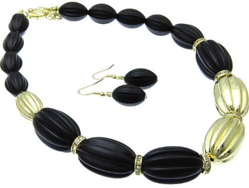 NECKLACE AND EARRING SET BEAD CRYSTAL STONE BLACK Fashion Jewelry Costume Jewelry fashion accessory Beautiful Charms