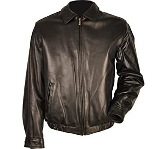 Chaps Lamb Leather Bomber Jacket-Black-L