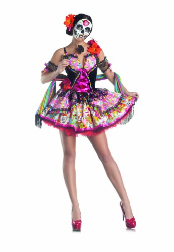 Party King Day Of The Dead Women's Costume Set with Mask