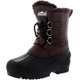Unisex Kids Pull On Drawstring Closure Nylon Muck Duck Snow Rain Fur Boots - 2 - BRO34 YC0163