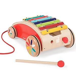 Janod - Xilófono Tatoo con ruedas, color rojo (08505380) en BebeHogar.com