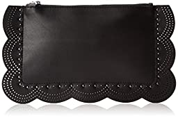 BCBG Scallop Perforated Leather Clutch, Black, One Size