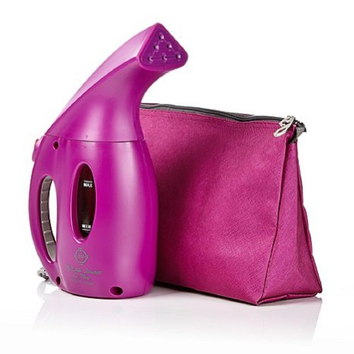 Joy Mangano 900-Watt Premier Go Mini Steamer With Designer Pouch Purple Orchid
