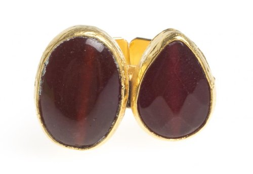 24K Yellow Gold Plated Carnelian Blood Red Tonal Natural Two Stone Adjustable Ring