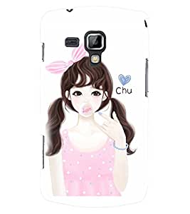 Printvisa Pink Dress Cute Girl Back Case Cover for Samsung Galaxy S Duos S7562