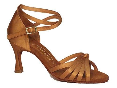 Scarpa da donna per ballo latino-americano in raso color tanganica tacco 70N (Taglia 38)