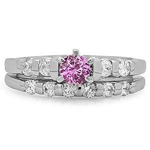 1.00 Carat (ctw) 14K White Gold Pink Sapphire & White Diamond Bridal Engagement Ring Set 1 CT (Size 11) by DazzlingRock