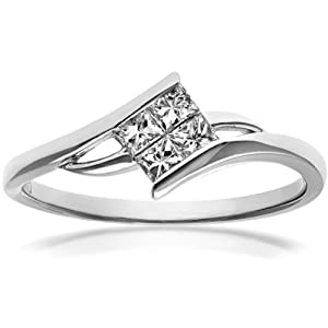 Ariel 18ct White Gold Solitaire Look Crossover Engagement Ring, IJ/I Certified Diamonds, Princess Cut, 0.25ct Size : L