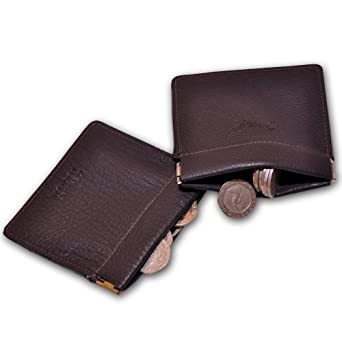 Leather Coin Clip Type Purse for Men in Brown leather CP07