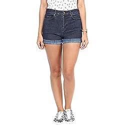 Hypernation Blue Color Denim Shorts For Women