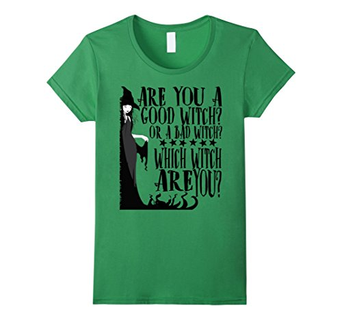 [Women's Good Witch Bad Witch T shirt Halloween Tee Medium Grass] (Good Witch And Bad Witch Costumes)