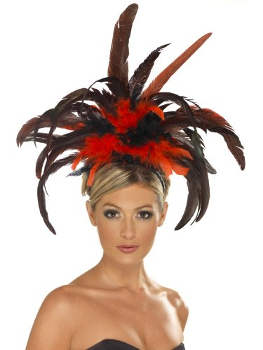 Burlesque Costume Feather Headband Adult: Red & Black