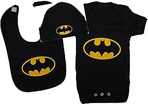 Diseño de bebé con Alas de Murciélago body de/para Mono corto/de costura para chalecos de/T-camiseta de manga corta, con forma de babero y gorro a juego Batman gorro de punto negro 0 - permiten el paso de la 12 meses