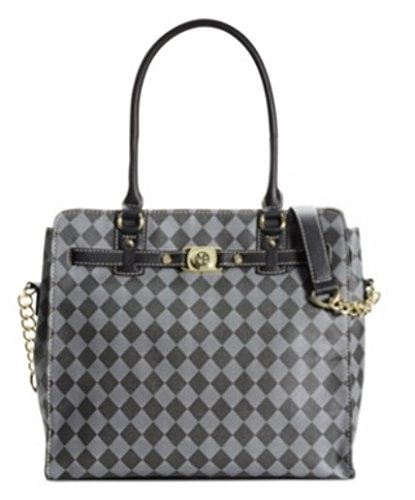 Marc Fisher Womens Faux Leather Checkered Tote Handbag Black Large (Marc Fisher Day By Day Bag compare prices)