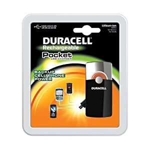 Duracell Pocket USB Charger with Lithium ion battery / includes universal cable with USB and mini USB,