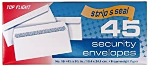 Top Flight Number 10 Boxed Security Envelopes, Strip and Seal Closure, 4 1/8 x 9 1/2 Inches, White, 45 Envelopes per Box (6900120)