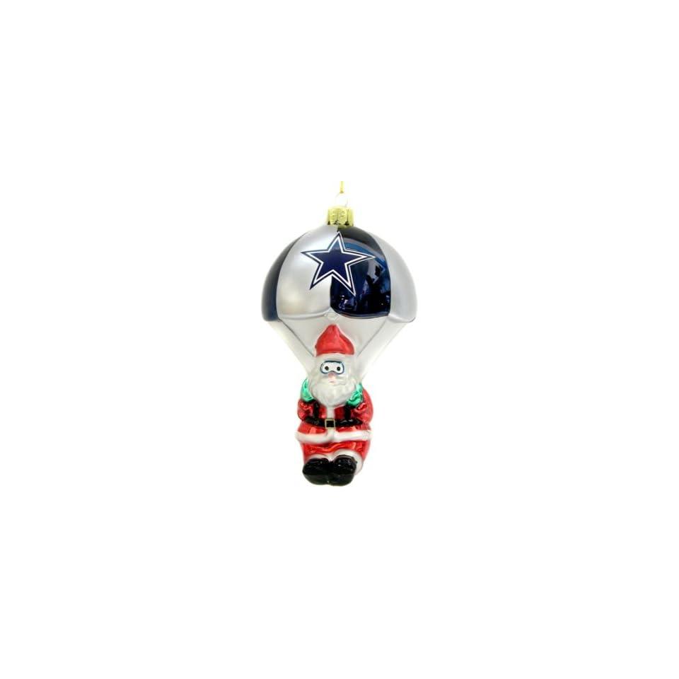 Dallas Cowboys NFL Parachuting Santa Glass Ornament