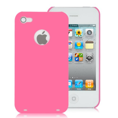 Frosted Round Hole Plastic Hard Cover Cases For iPhone 4 (AT&T Only) PINK