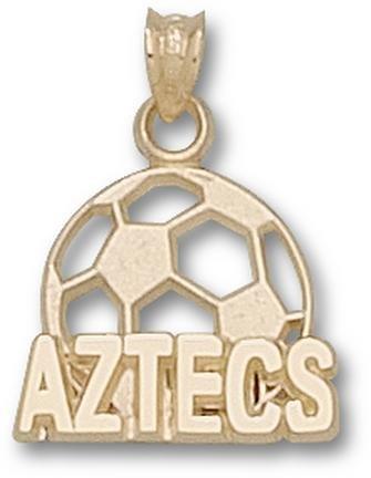 San Diego State Aztecs Aztecs Soccer Ball Pendant - 14KT Gold Jewelry by Logo Art