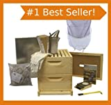 Bee Hive - 8 Frame Deluxe Beehive Starter Kit and Beekeeping Supplies - Perfect Hives for Beginners and FREE SHIPPING! Beekeeper Kits for Honey Bees, Easy-to-lift Wood Beehives, Quality Equipment - Boxes, Frames, Smoker, Fuel, Veil, Gloves. QUALITY GUARANTEED or Your Money Back!