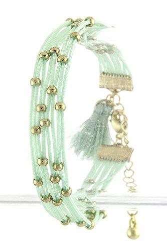 Karmas Canvas String Bead Bracelet (Mint) front-220449