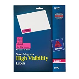 Avery Neon Laser Labels, Rectangle, 1\