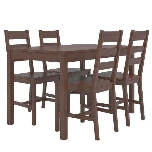 CorLiving DTC-874-T Dapper Brown Stained Kitchen Set with 4 Chairs