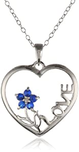 "Sterling Silver Diamond Accent and Lab Created Sapphire Flower ""Love"" Heart Pendant Necklace, 18"""