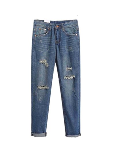 Tm Women'S Punk Vintage Ripped Boyfriend Style Slim Fit Denim Jeans 26 Blue