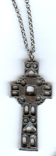 Pewter Medieval Viking Cross Necklace on a 32