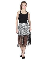 Miway Women's Print Cotton Lycra Black & White Skirt (32)