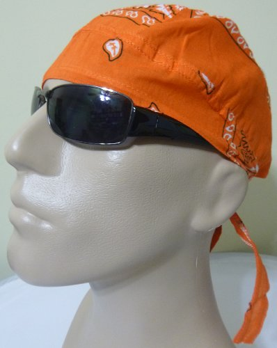 ORANGE Paisley Head Wrap Headwrap AKA Bikers Cap, DuRag, Doo Rag, Wrap Bandana, Bandanna 100% Lightweight Cotton Easy to Use Under Baseball Caps, Motorcycle or Football Helmets, Running, Jogging, Exercising, Gardening, Cleaning to Keep Hair Out of the Face and Absorb Sweat or For Natural Balding or Use During Chemo Cancer Treatments, Halloween Color