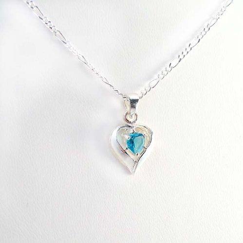 Birthstone December Blue Zircon Heart Crystal Sterling Silver Necklace, 20