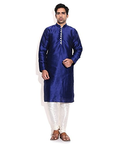 Men's Blue Silk Blend Occassional Wear Loopbutton Kurta Set