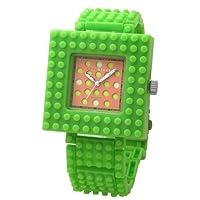 [ナノブロック]nanoblock デコレーション腕時計 デコって遊べるリストウォッチ チェンジベゼル チェンジベルト おまけブロック付 グリーン×ピンク NAW-3410LG