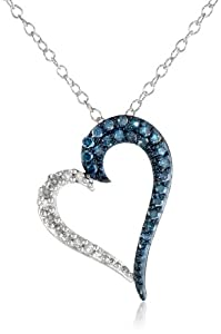 Sterling Silver Half Blue and Half White Diamond Angled Heart Pendant Necklace (0.25 cttw, I-J Color, I1-I2 Clarity) by Max Color, LLC
