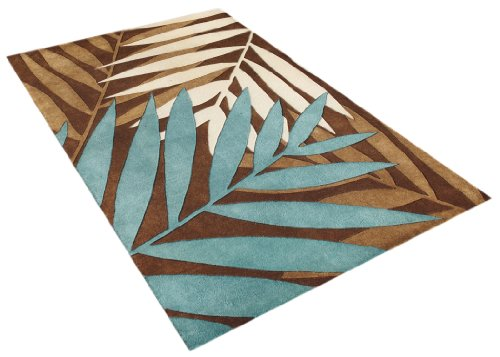 ZnZ Rugs Gallery, 25051_5x8, Handmade Brown New Zealand Blend Wool Rug, 1, Beige, Aqua, 5x8'