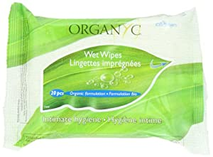 ORGANYC 100% Organic Cotton Feminine Hygiene Wipes, 20-count Packages (Pack of 6)