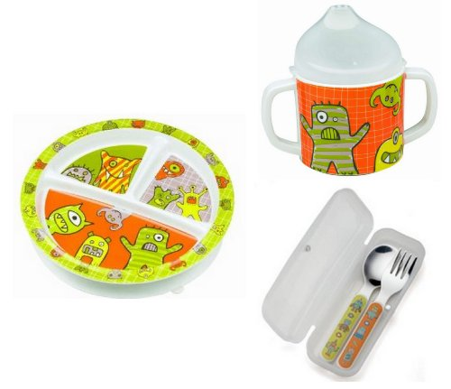 Sugarbooger Divided Plate, Sippy Cup, and Silverware Set-Hungry Monsters - 1