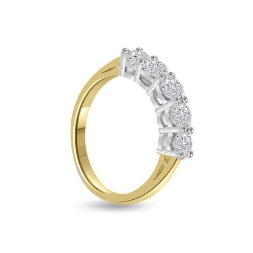 0.80ct H/SI1 Diamond Half Eternity Ring for Women with Round Brilliant cut diamonds in 18ct White Gold & Yellow Gold