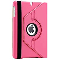 Gearonic 360 Degree Rotating PU Leather Case Cover With Swivel Stand For IPad Mini Hot Pink (AV-5133HPUIB)