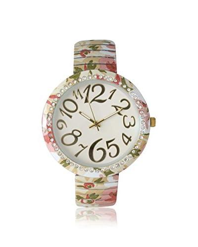 Olivia Pratt Women's 25913 Pastel Floral Pink/Green Stretch Band Alloy Watch