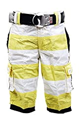 Fingerchips Boys Yellow Colour Striped 3/4th Shorts with matching belt (waist 34 )