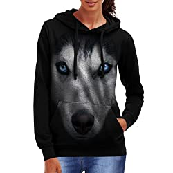 Wellcoda | Siberian Husky Dog Big Womens Animal Pet Black Hoodie S-2XL